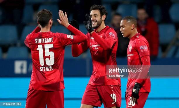 Hamadi Al Ghaddioui of Stuttgart celebrates after scoring his teams first goal during the Second Bundesliga match between VfL Bochum 1848 and VfB...