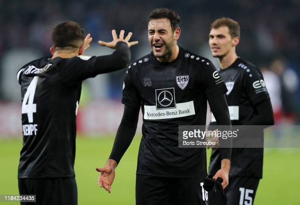 Hamadi Al Ghaddioui of VfB Stuttgart celebrates after scoring his team's second goal with Marc-Oliver Kempf of VfB Stuttgart during the DFB Cup...