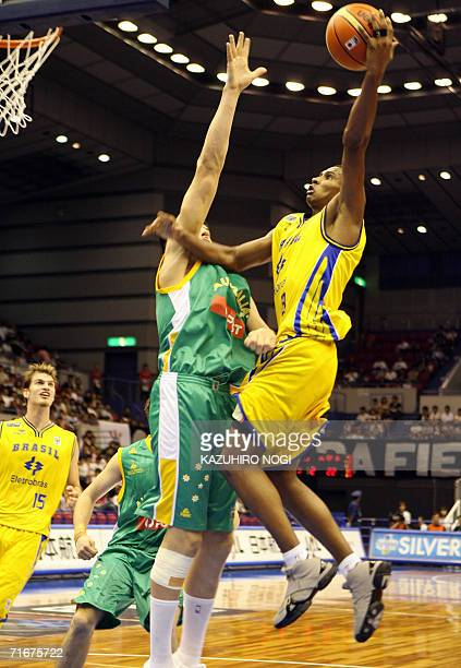 Brazilian shooting guard Leandrinho Barbosa makes an attempt at the basket during the Group C opening match against Australia at the World Basketball...