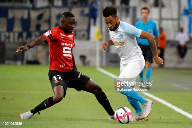 Hamari Traore of Rennes and Jordan Amavi of Marseille during Ligue 1 match between Marseille and Rennes on August 26 2018 in Marseille France