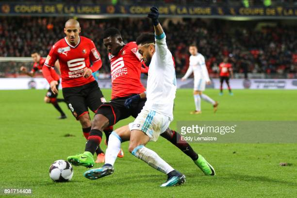 Hamari Traore of Rennes and Jordan Amavi of Marseille during the french League Cup match Round of 16 between Rennes and Marseille on December 13 2017...