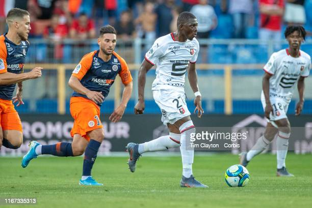 Hamari Traore of Rennes defended by Mihailo Ristic of Montpellier and Jordan Ferri of Montpellier during the Montpellier Vs Stade Rennes French Ligue...