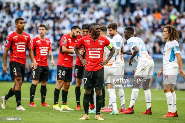 Hamari TRAORE of Rennes during the Ligue 1 Uber Eats match between Marseille and Rennes at Orange Velodrome on September 19, 2021 in Marseille,...