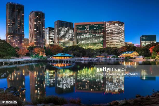 Hamarikyu Gardens and Shiodome Skyscrapers