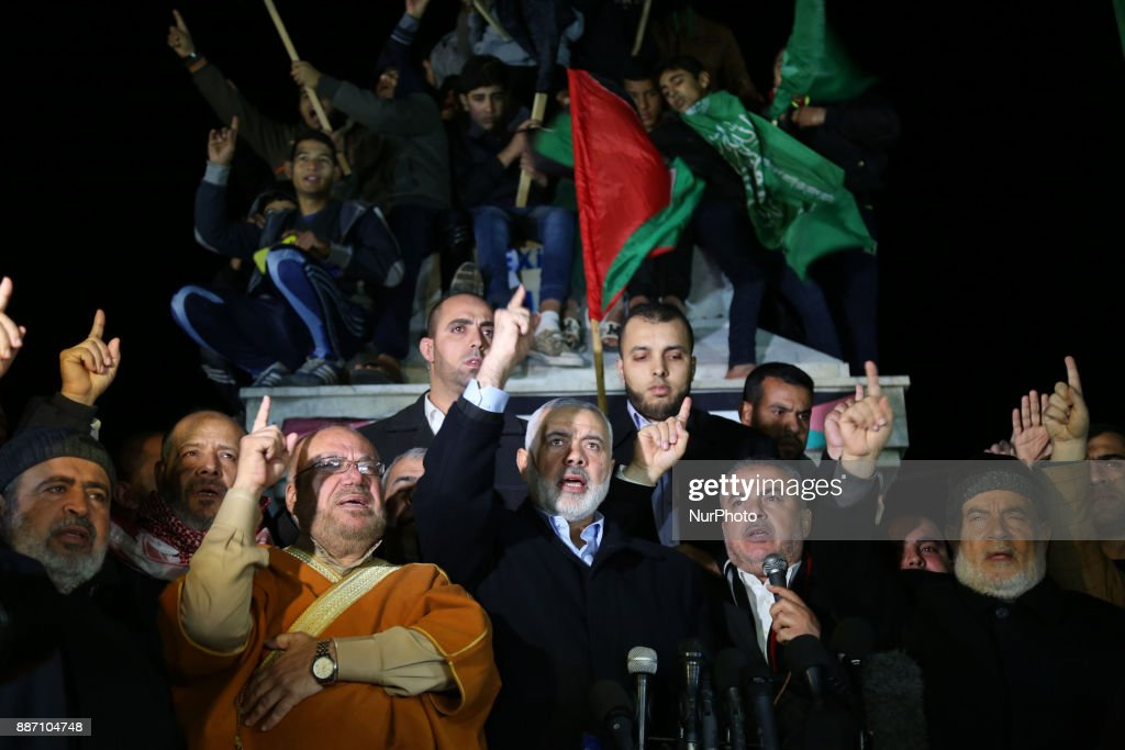 Hamas Chief Ismail Haniyeh during a protest against the possible U.S. decision to recognize Jerusalem as Israel's capital, in Gaza City , Wednesday, Dec. 6, 2017. President Donald Trump is forging ahead with plans to recognize Jerusalem as Israel's capital despite intense Arab, Muslim and European opposition to a move that would upend decades of U.S. policy and risk potentially violent protests.