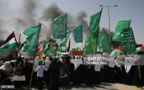 Hamas female supporters protest against Israel's siege of the Gaza Strip near the Erez crossing in the north of the territory on April 19 2008 Three...