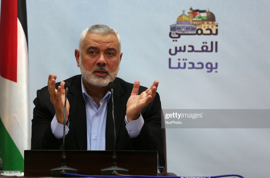 Hamas' leader delivers a speech in Gaza city