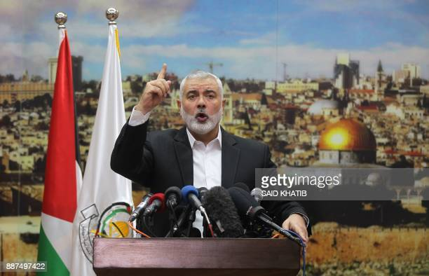 TOPSHOT Hamas leader Ismail Haniya gestures as he delivers a speech over US President Donald Trump's decision to recognise Jerusalem as the capital...