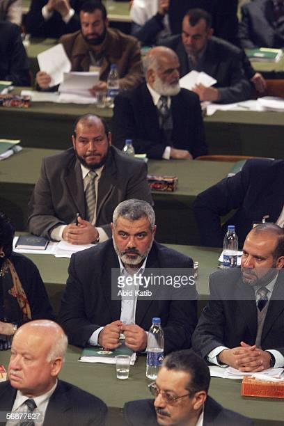 Hamas leader Ismail Haniyeh and other Palestinian Parliament elected members attends the inaugural parliament session on February 18 2006 in Gaza...