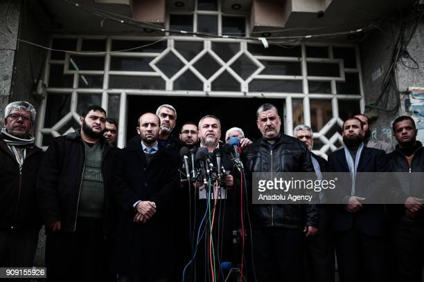 Hamas leader Ismail Ridvan speaks during a press conference against US Vice President Mike Pence's planned visit to East Jerusalem on January 23 2018...