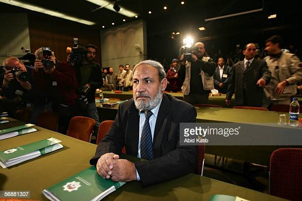 Hamas MP Mahmud Zahar attend the inaugural parliament session on February 18 2006 in Gaza City Gaza Strip The inaugural session of the new...