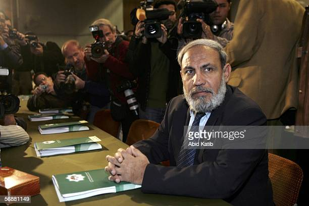 Hamas MP Mahmud Zahar attends the inaugural parliament session on February 18 2006 in Gaza City Gaza Strip The inaugural session of the new...