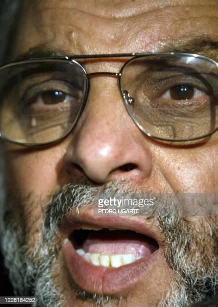 Hamas new supreme leader Abdelaziz Rantissi talks to reporters in Gaza City 23 March 2004. Rantissi said on taking over as supreme leader of the...