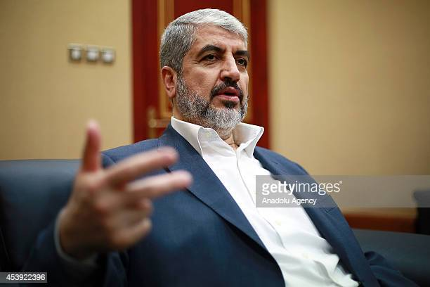 Hamas political chief Khaled Meshaal gives an exclusive interview with Anadolu Agency in Doha Qatar on August 21 2014