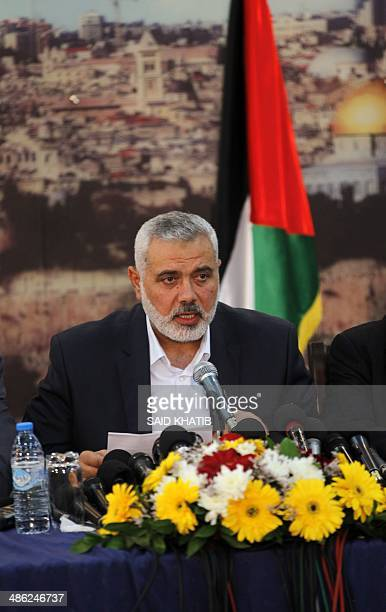 Hamas prime minister in the Gaza Strip Ismail Haniya announces during a press conference the signing of a reconciliation agreement between the rival...