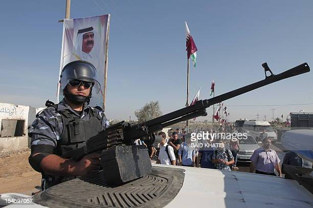 Hamas security forces keep position at the Rafah border crossing with Egypt prior to the arrival of Qatari Emir Sheikh Hamad bin Khalifa al-Thani to...