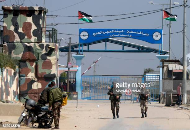 Hamas security forces stand guard at Erez border crossing into Israel in Beit Hanun in the northern Gaza Strip on March 26 after it was shut by the...