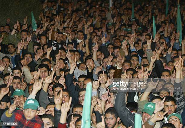 Hamas supporters shout antiisrael slogans during a rally orgnised by the Islamist group in Gaza City 23 February 2006 against today's Israeli...