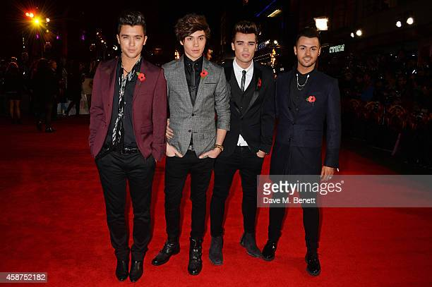 JJ Hamblett George Shelley Josh Cuthbert and Jaymi Hensley of Union J attend the World Premiere of 'The Hunger Games Mockingjay Part 1' at Odeon...