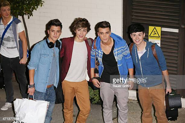 Hamblett George Shelley Josh Cuthbert and Jaymi Hensley of Union J are seen leaving 'The X Factor' held at Fountain Studios on October 15 2012 in...