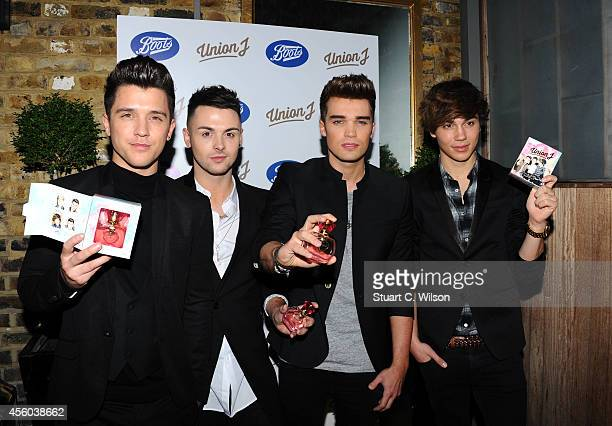 Hamblett Jaymi Hemsley George Shelley and Josh Cuthbert of Union J attend the Union J Fragrance Launch at The Sanctum Hotel on September 24 2014 in...