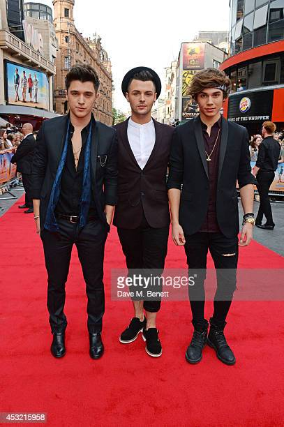 """Hamblett, Jaymi Hensley and George Shelley of Union J attend the World Premiere of """"The Inbetweeners 2"""" at Vue West End on August 5, 2014 in London,..."""