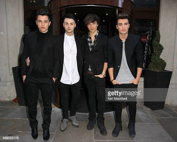 Hamblett Jaymi Hensley George Shelley and Josh Cuthbert from Union J arrive at The Soho Sanctum for their Perfume Launch event on September 24 2014...