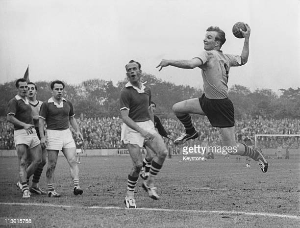 Hamborn 07 take on VfL Wolfsburg in the final match of the German handball championship at Oberhausen 29th June 1958 Hamborn won 109 to become the...