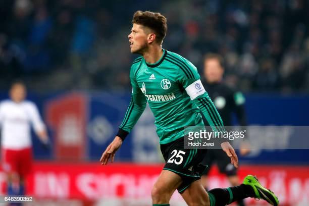 Hamburg, 26. Januar 2014 - Fußball, 1. Bundesliga 2013/14, Hamburger SV - FC Schalke 04: Klaas Jan Huntelaar bejubelt sein Tor zum 0:1 // © xim.gs,...
