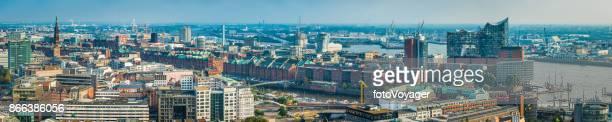 Aerial Panorama Hamburg HafenCity Speicherstadt Wahrzeichen Elbe Hafen Hafen Deutschland