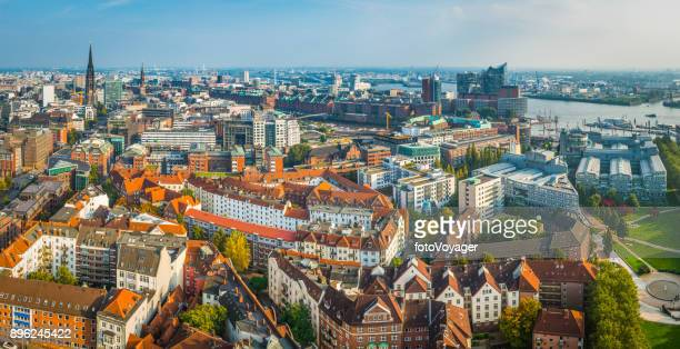 hamburg aerial panorama over city to elbphilharmonie and harbour germany - hamburg germany stock pictures, royalty-free photos & images