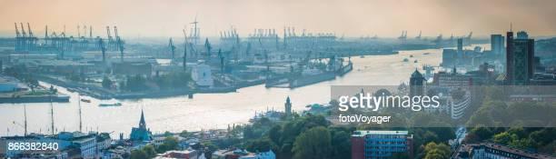 Aerial Panorama Hamburg St. Pauli Elbe und Hafen Deutschland