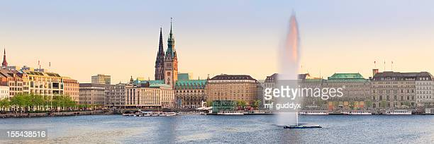 hamburg alster lake panorama - hamburg germany stock pictures, royalty-free photos & images