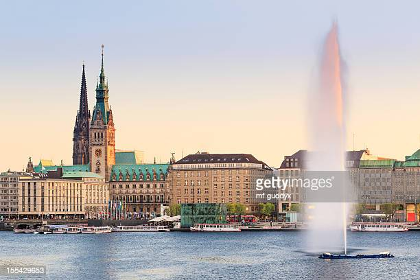 hamburg alster lake, town hall - hamburg germany stock pictures, royalty-free photos & images