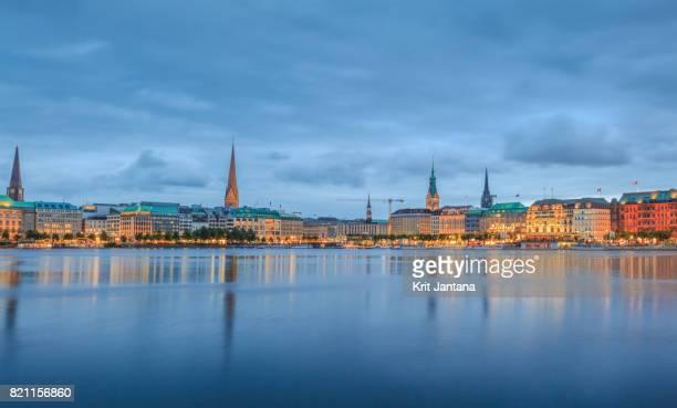 Hamburg at night near Inner Alster Lake