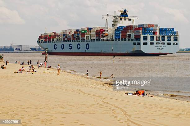 hamburg blankenese beach at the river elbe - elbe river stock photos and pictures
