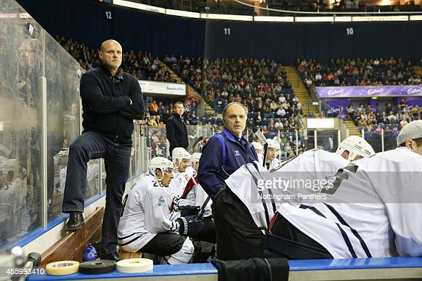 Hamburg Coach Benoit Laporte during the Champions Hockey League group stage game between Nottingham Panthers and Hamburg Freezers on September 23...