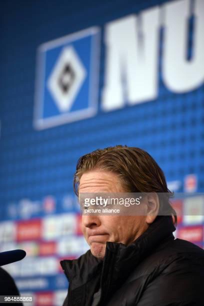 Hamburg coach Markus Gisdol speaking at a press conference after the German Bundesliga football match between Hamburg SV and 1 FC Cologne at the...