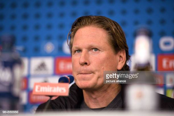 Hamburg coach Markus Gisdol speaking at a press conference after the German Bundesliga football match between Hamburg SV and 1 FC Cologne at the...