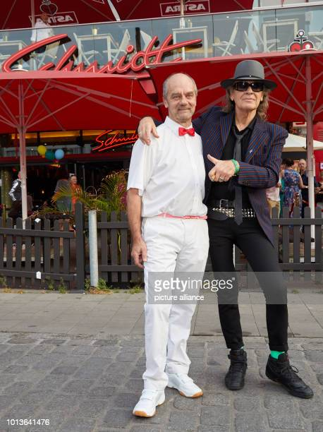 Corny Littmann managing partner of the Schmidt Theater and Udo Lindenberg musician are about to start their birthday show in front of the Schmidt...