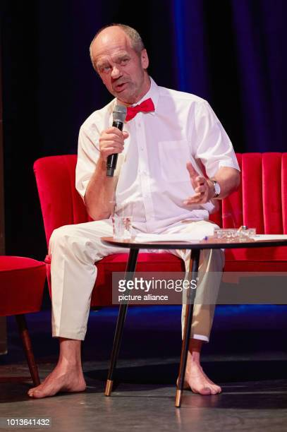 Corny Littmann managing partner of the Schmidt Theater speaks on stage at the Schmidt Theater during the dress rehearsal for the birthday show The...