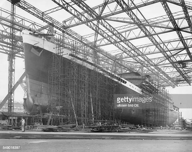 Hamburg Doppelschrauben Schnelldampfer Potsdam auf der Werft Blohm und Voss