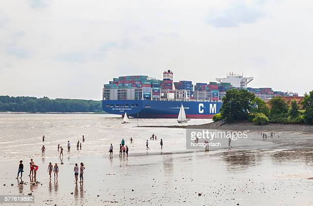 Hamburg, Elbe River with container ship