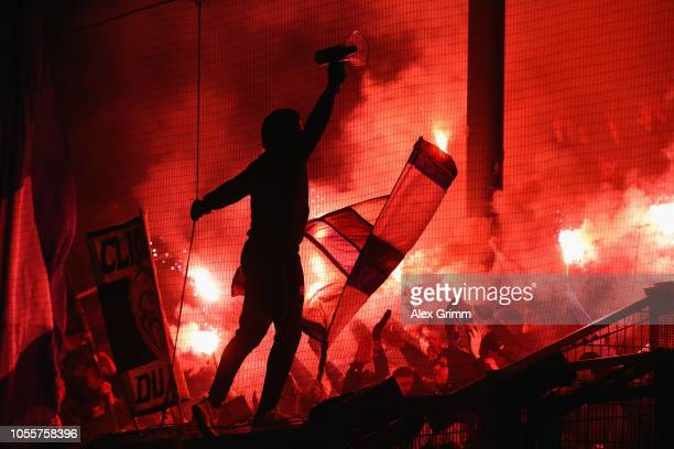 Hamburg fans show their support during the DFB Cup second round match between SV Wehen Wiesbaden and Hamburger SV at BRITAArena on October 30 2018 in...