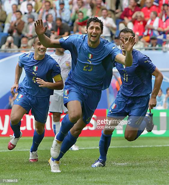 Italian defender Marco Materazzi celebrates scoring the opening goal during the World Cup 2006 group E football game Czech Republic vs. Italy, 22...