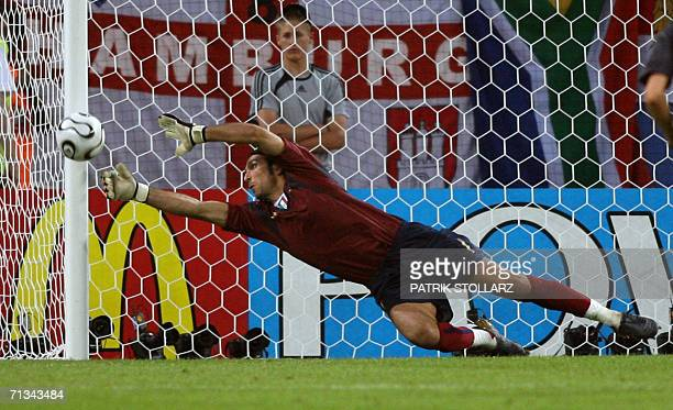 Italian goalkeeper Gianluigi Buffon dives for a save during the World Cup 2006 quarter final football game Italy vs Ukraine 30 June 2006 at Hamburg...