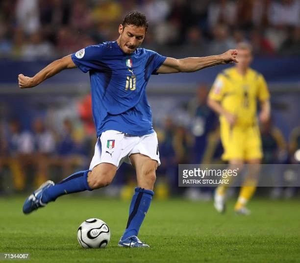 Italian midfielder Francesco Totti kicks the ball during the World Cup 2006 quarter final football game Italy vs Ukraine 30 June 2006 at Hamburg...