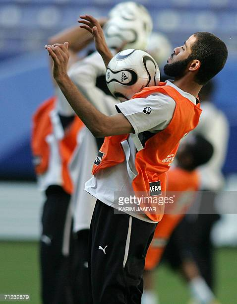 Saudi defender Abdulaziz Khathran attends a training session in Hamburg 18 June 2006 Saudi Arabia will contest Group H of the 2006 Football World Cup...