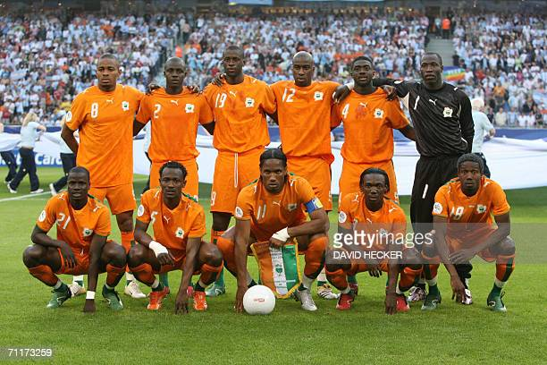The Ivory Coast team poses 10 June 2006 at the Hamburg stadium before the beginning of the Football World Cup Group C match Argentina vs Ivory Coast...