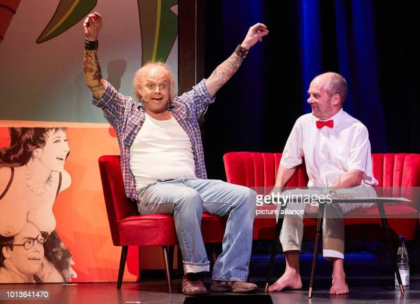 Götz Fuhrmann actor and Corny Littmann managing partner of the Schmidt Theater during the dress rehearsal for the birthday show on stage at the...